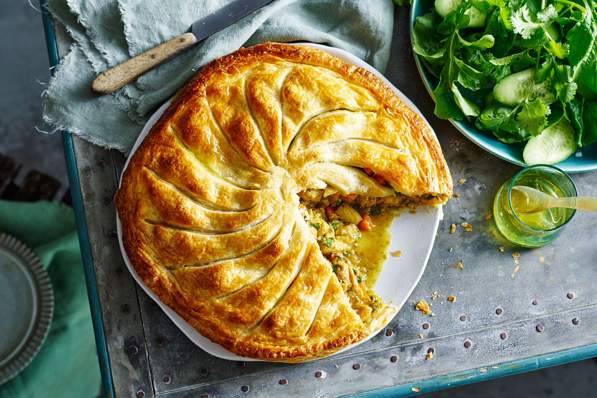 Rustic Free Form Moroccan Chicken Pie